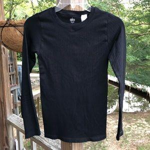 ALO Black Ribbed Perforated Long Sleeve Shirt Top